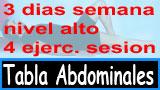 Tabla abdominales avanzadas 3 sesiones 4 ejercicio