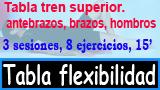 Tabla flexibilidad cuello, brazos, pecho