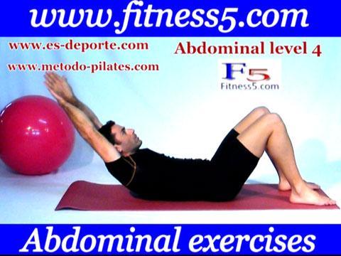 Ejercicio pilates Abdominal basica brazos estirados detras de la cabeza