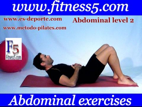Ejercicio pilates Abdominal basica manos en el estomago