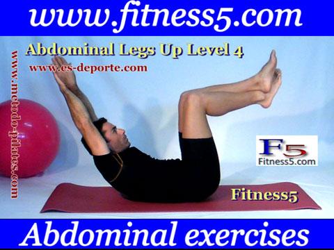 Ejercicio pilates Abdominales pierna en alto estiradas brazos estirados detras de la cabeza