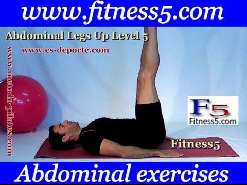 Ejercicio pilates Abdominales pierna en alto estiradas manos en el suelo