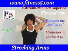 Flexibilidad, brazo por detras de la cabeza flexionado