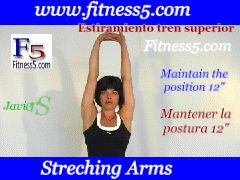 Flexibilidad de pecho, biceps y espalda, brazos hacia atras palmas hacia arriba.