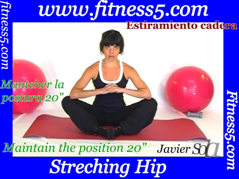 Flexibilidad abductores desde sentados apertura de piernas flexionadas.