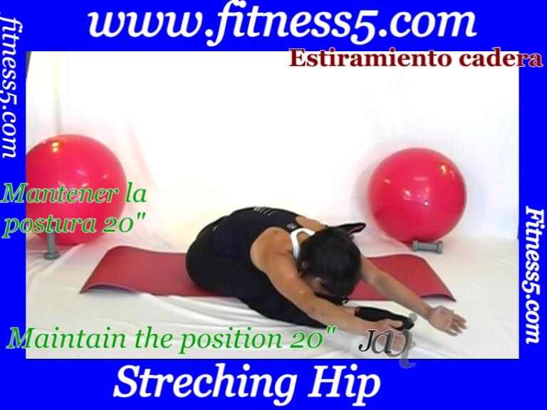 Ejercicio pilates Ejercicio triple de flexibilidad de isquiotibiales sentado.