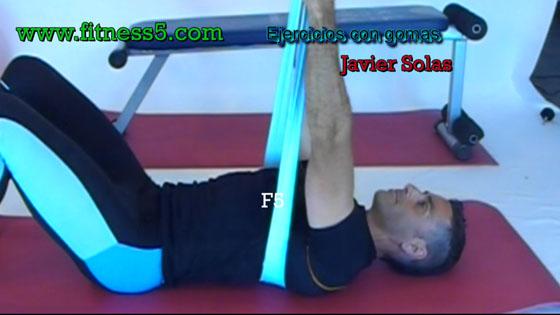 Ejercicio pilates Pectorales con gomas y codos al tronco bilateral