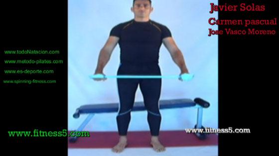 Aperturas de brazos abajo con gomas bilaterales