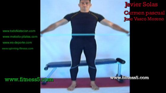 Ejercicio pilates Aperturas de brazos abajo con gomas bilaterales