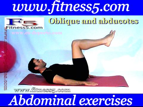 Ejercicio de abdominales-oblicuos y abductores desde tumbado con apertura de piernas alternativa