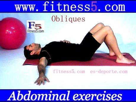 Ejercicio pilates Ejercicio de oblicuos con flexion del tronco y pies en el suelo, basicos nivel uno