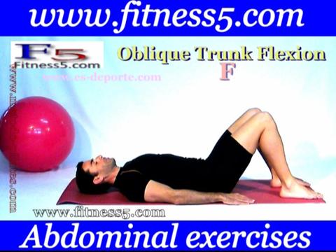 Ejercicio de oblicuos con flexion y torsion del tronco manos hacia tobillo.