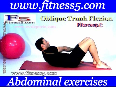 Ejercicio pilates Ejercicio de oblicuos con flexion y torsion del tronco manos hacia tobillo.